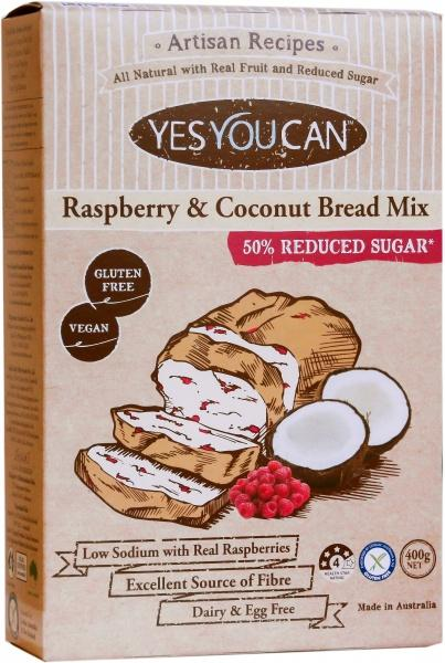 YesYouCan Artisan Raspberry & Coconut Bread Mix G/F 400g
