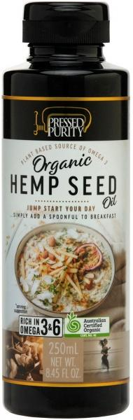 Pressed Purity Organic Hemp Seed Oil G/F 250ml