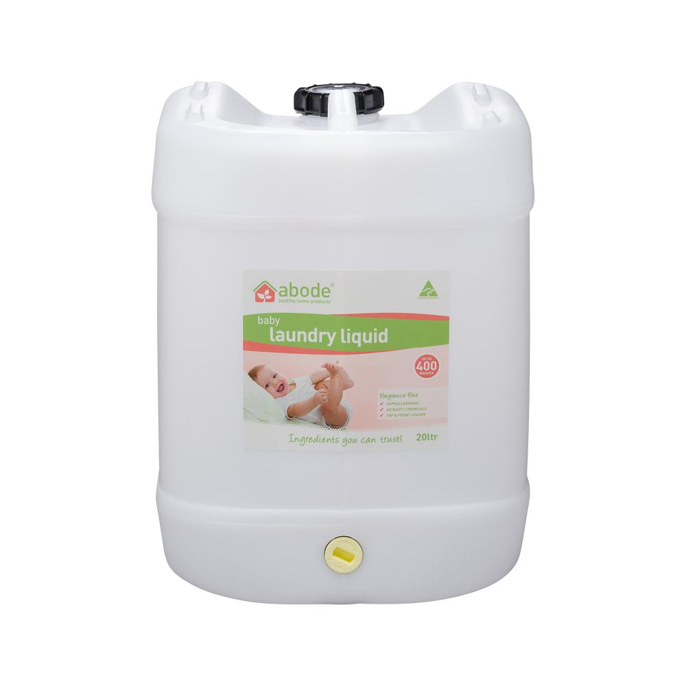 ABODE Laundry Liquid (Front & Top Loader) Baby Fragrance Free 20L Drum with Tap