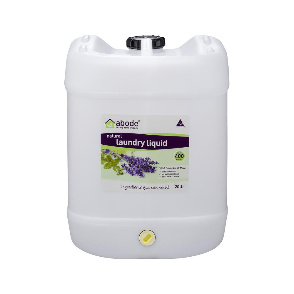 ABODE Laundry Liquid (Front & Top Loader) Wild Lavender & Mint 20L Drum with Tap