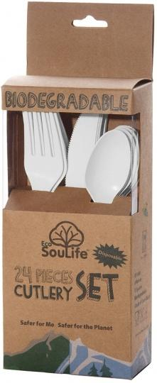 EcoSouLife Cornstarch 24 Pc Cutlery Set Natural