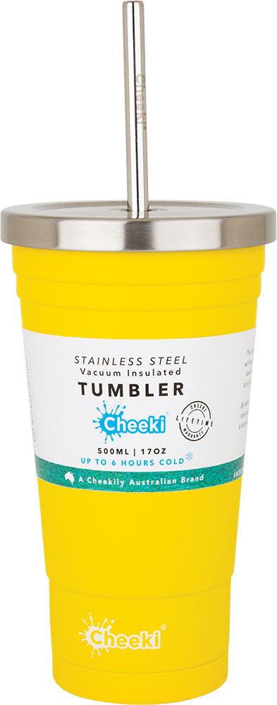 Cheeki Insulated Tumbler Lemon - With S/Steel Straw