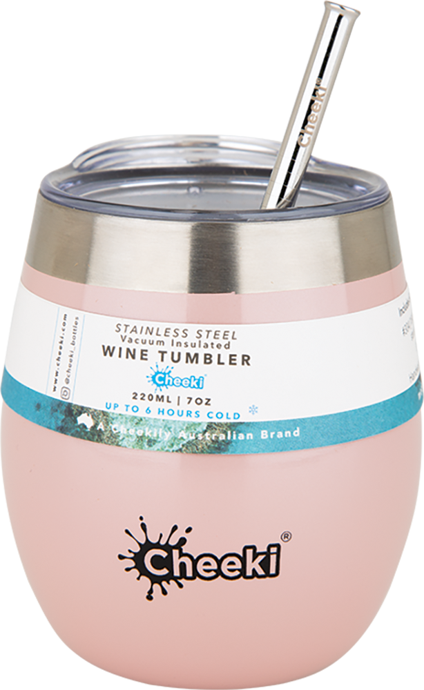 Cheeki Insulated Wine Tumbler Pink Champagne - With S/Steel Straw