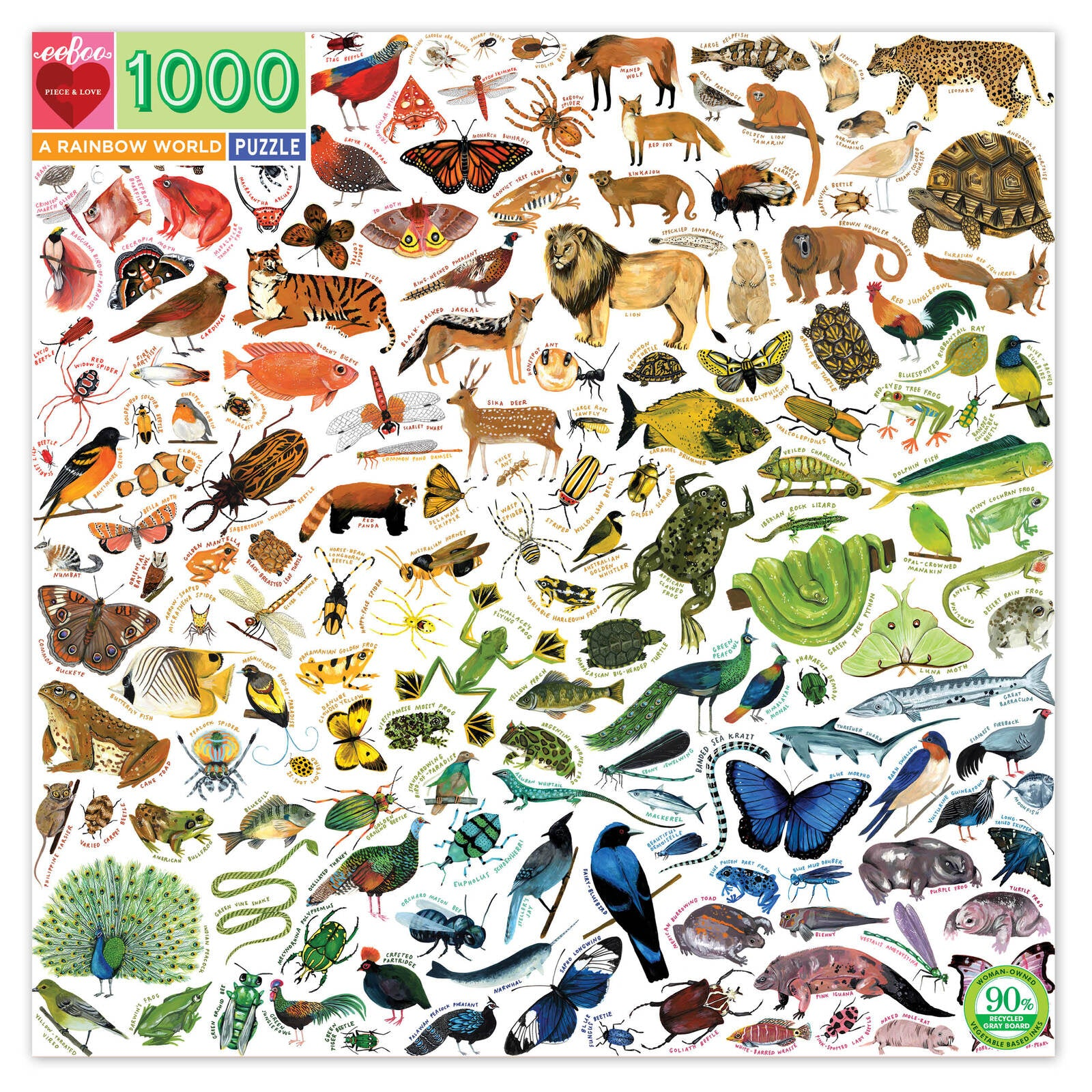 PRE ORDER EeBoo Rainbow World 1000pc Square Jigsaw Puzzle