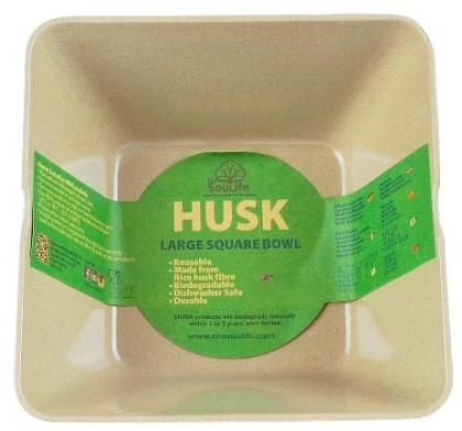 EcoSouLife Rice Husk (D14 x H6cm) Small Square Bowl Natural