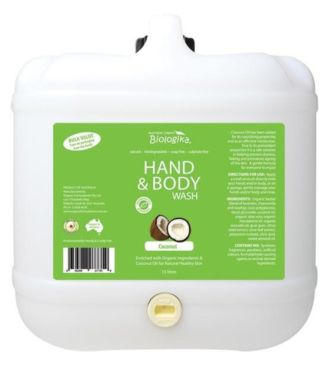 BIOLOGIKA Hand & Body Wash (Bulk) Coconut 15L