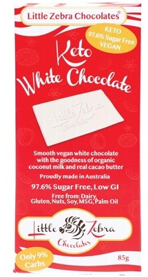 LITTLE ZEBRA CHOCOLATES Keto White Chocolate 85g