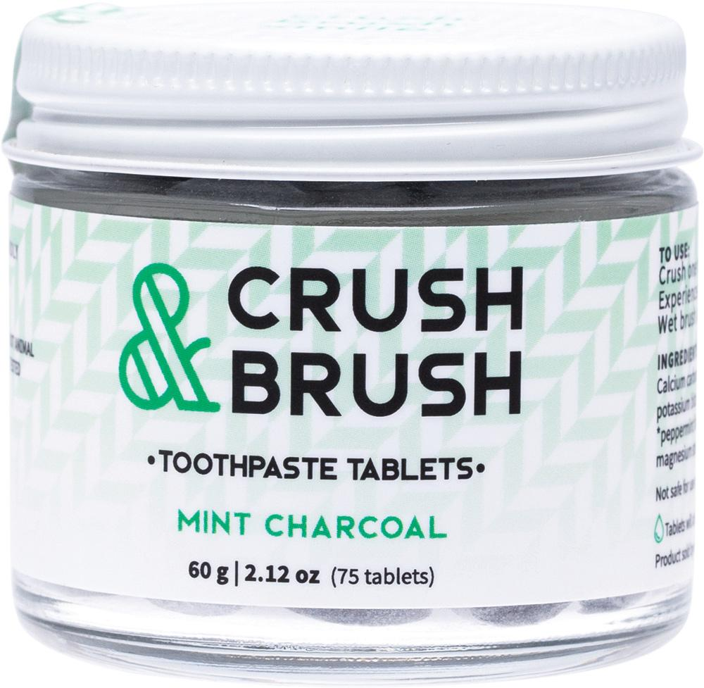 Nelson Naturals Inc. Crush & Brush Toothpaste Tablets Mint Charcoal
