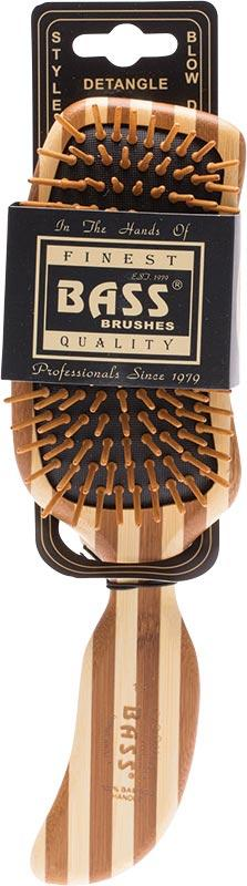 BASS BRUSHES Bamboo Wood Hair Brush Semi S Shaped 1