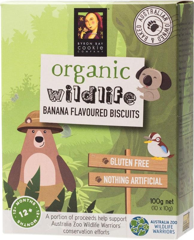 BYRON BAY COOKIES Organic Wildlife Biscuits Individually Wrapped - Banana 100g