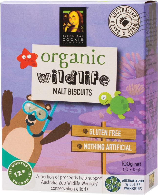 BYRON BAY COOKIES Organic Wildlife Biscuits Individually Wrapped - Malt 100g