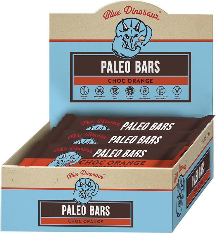 BLUE DINOSAUR Paleo Bars Choc Orange - Box of 12 12x45g