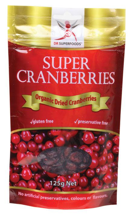 DR SUPERFOODS Organic Dried Super Cranberries 125g