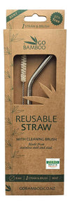 GO BAMBOO Stainless Steel Straw With Sisal Cleaning Brush 1