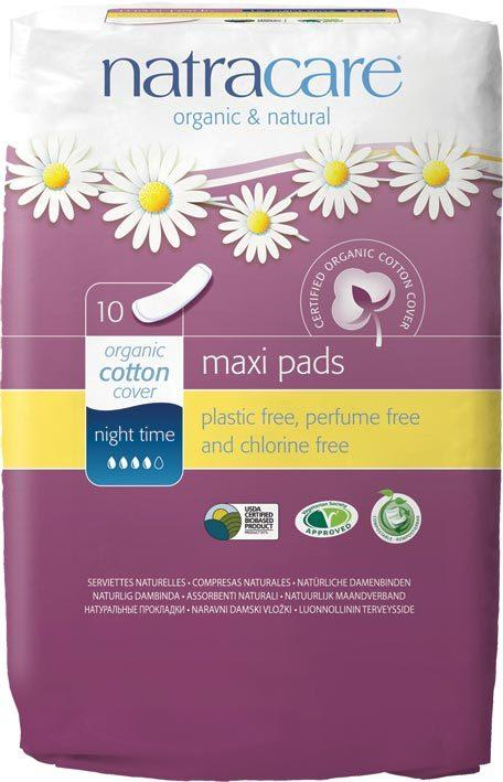 NATRACARE Maxi Pads Night Time 10