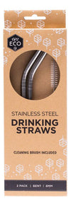 EVER ECO Stainless Steel Straws- Bent Includes Cleaning Brush 2