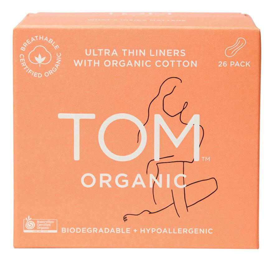 TOM ORGANIC Panty Liners (Wrapped) Ultra Thin Liners for Everyday 26