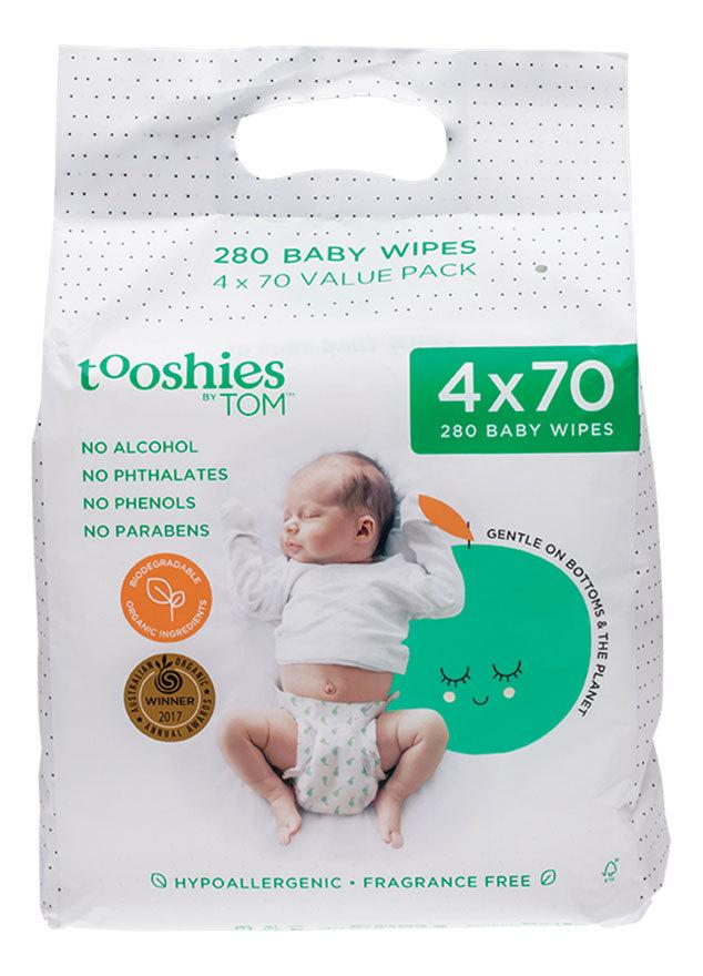 TOOSHIES BY TOM Pure Baby Wipes Value Pack 4x70