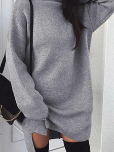 High Neck Plain Batwing Sleeve Fluffy Sweaters