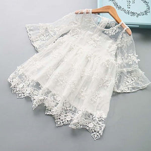 Graceful Flare Sleeve Lace Dress