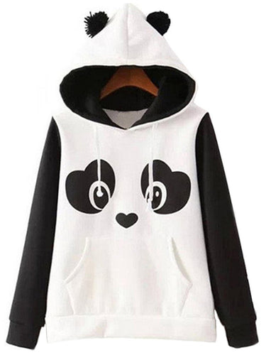 Lovely Panda Color Block Kangaroo Pocket Hoodie