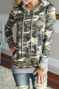 Hooded  Drawstring  Camouflage Hoodies