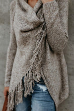 Load image into Gallery viewer, Speckled Cowl Neck  Fringe  Plain Cardigans