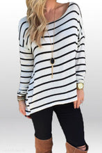 Load image into Gallery viewer, Round Neck  Asymmetric Hem  Striped  Batwing Sleeve T-Shirts