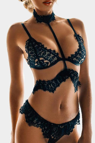 Black See-Through Lace Detail Halter Sexy Lingerie Sets