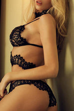 Load image into Gallery viewer, Black See-Through Lace Detail Halter Sexy Lingerie Sets