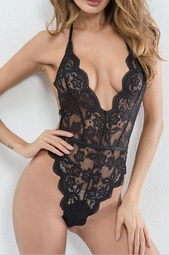 Spaghetti Strap  See Through  Lace Plain Teddy