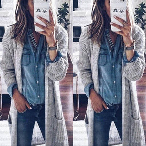 Loose Double-Pocket Knit Cardigan