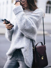 Load image into Gallery viewer, Cozy Turtleneck Rib Splicing Long Sleeves Sweater