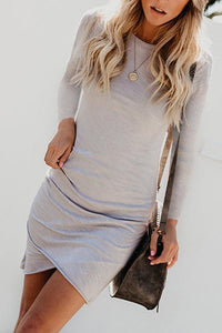 Crew Neck  Asymmetric Hem  Plain  Long Sleeve Bodycon Dresses
