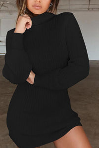 Fashion Sexy Plain Long Sleeve Sweater Dresses