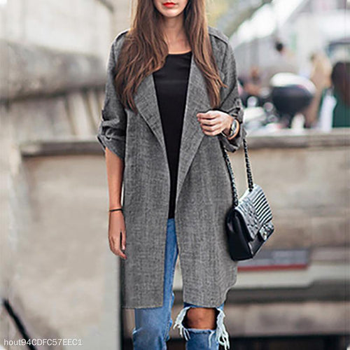 Mid-Length Cardigan Casual Suit Trench Outerwear