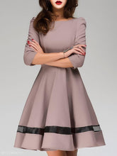 Load image into Gallery viewer, Round Neck  Plain Skater Dress