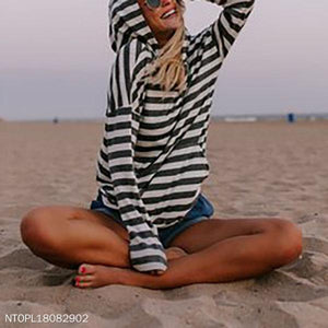 Stripe Casual Long Sleeve Hoodies