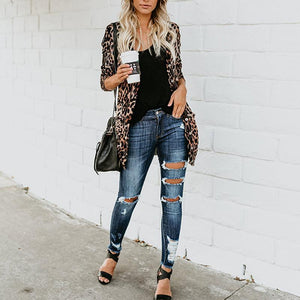 Fashion Leopard Print Long Sleeve Cardigan