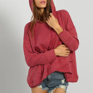 Hooded Long Sleeve Asymmetrical Hem Hoodies