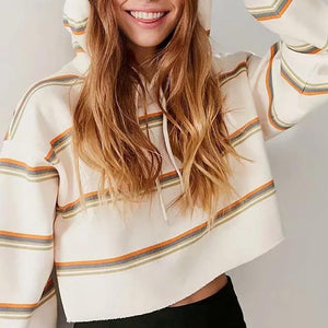 Fashion Stripe Loose Hoodie Sweatshirts