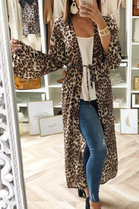 Belt Loops  Leopard Printed Trench Coat