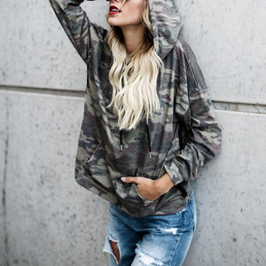Loose Hooded Camouflage Printed Long Sleeve Pocket Hoodies