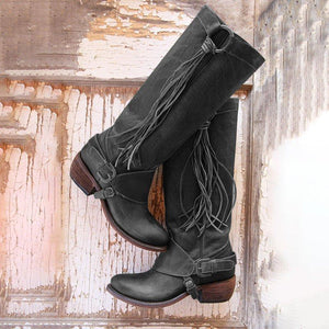 Tassel Knight Shoes Women Leather High Boots