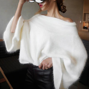 White Fluffy Off-Shoulder Fuzzy Fur Sweater