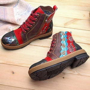 Fashion Handmade Leather Vintage Flat Boots