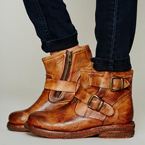Fashion Buckled Flat Ankle Boots
