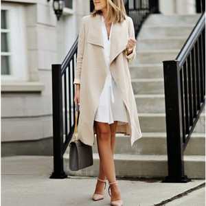 Fashion Casual Long Sleeves Wide Lapel Slim Long Coat