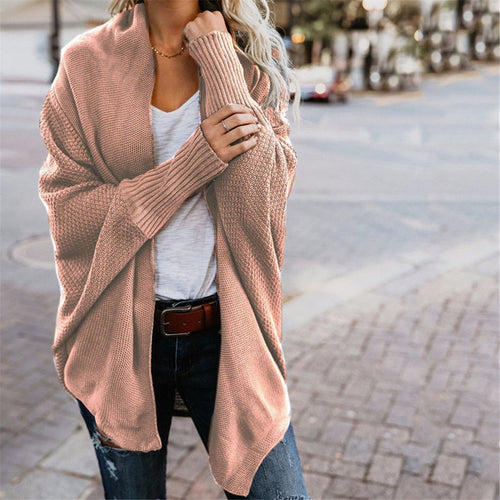 Pure Color Long Sleeve Irregular Knitted Cardigan