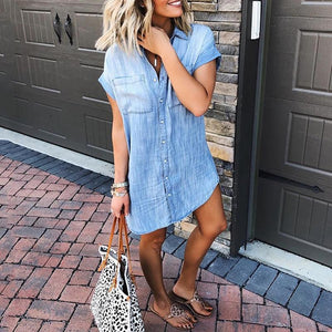 Solid Color Short-Sleeved Cow Shirt Dress